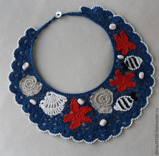 Колье, бусы ручной работы. Ярмарка Мастеров - ручная работа. Купить Вязаное украшение  Море. Handmade. Тёмно-синий