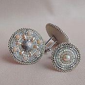 Украшения handmade. Livemaster - original item Cufflinks CREAM opal, pearl, beaded. Handmade.