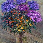 Картины и панно handmade. Livemaster - original item Phlox and marigolds. Two thousand nineteen. Oil painting. Handmade.