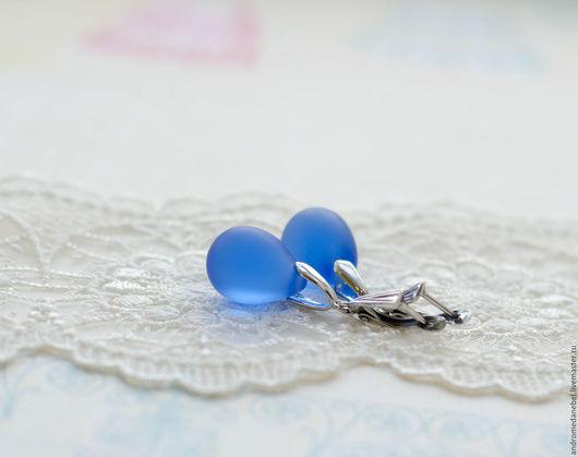 Серьги ручной работы. Ярмарка Мастеров - ручная работа. Купить Серьги Капля синяя матовая. Handmade. Купить подарок, серьги