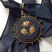 Украшения handmade. Livemaster - original item Embroidered pendant La noche de los girasoles (2). Handmade.
