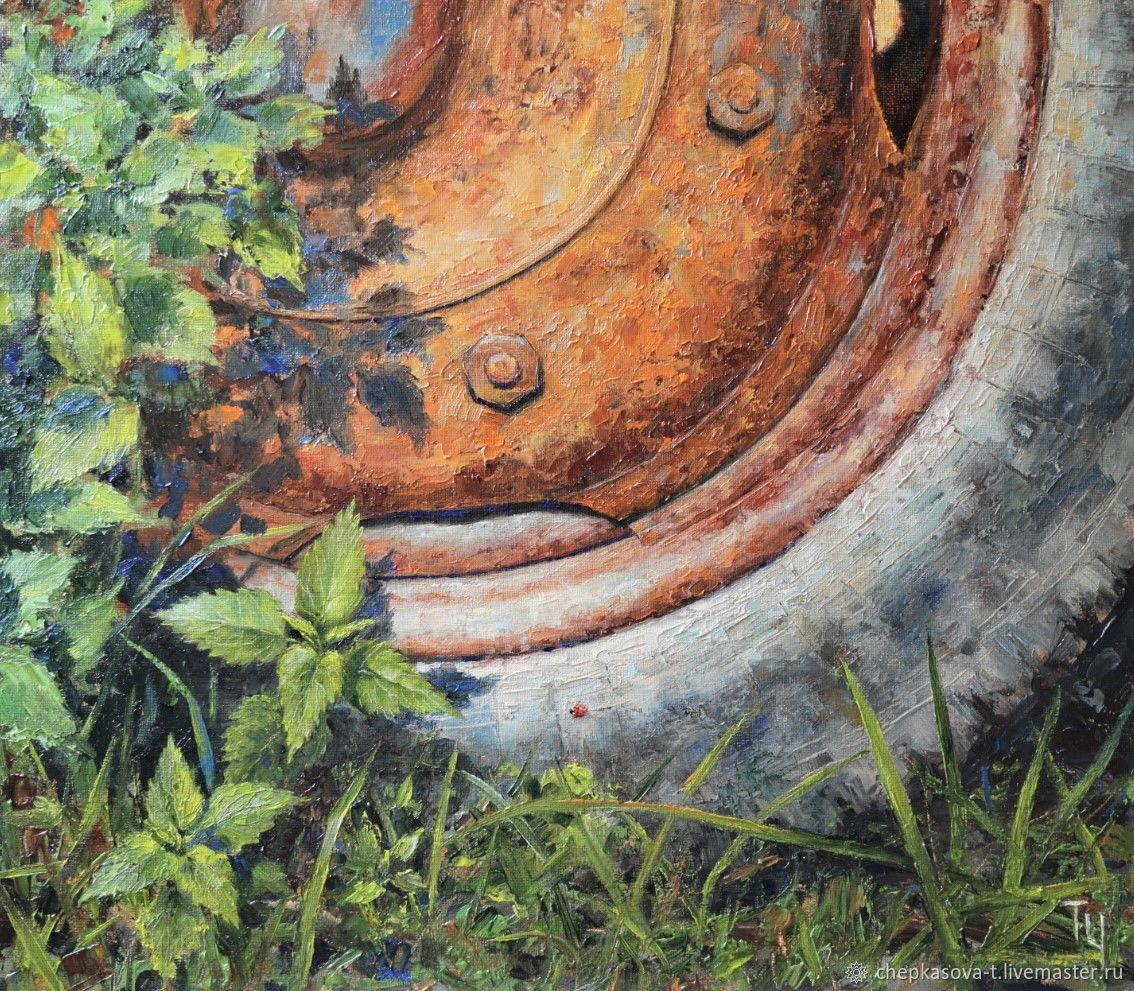 Серия «Деревенская мозаика» №3: Колесо. Масло, холст на оргалите, Картины, Москва, Фото №1