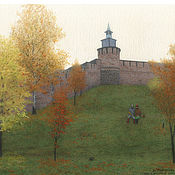 Картины и панно handmade. Livemaster - original item Watercolor drawing Nizhny Novgorod Kremlin. Autumn.. Handmade.