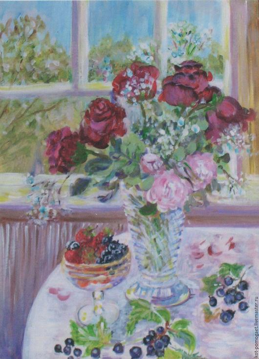 Картины цветов ручной работы. Ярмарка Мастеров - ручная работа. Купить розы на день рождения  картина натюрмортцветы. Handmade. Бордовый