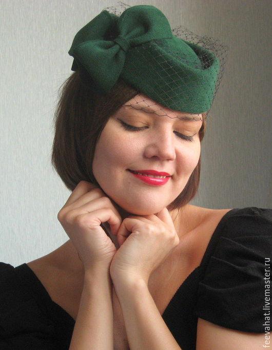 """Шляпы ручной работы. Ярмарка Мастеров - ручная работа. Купить Шляпка """"Темный изумруд"""". Handmade. Изумрудный, шляпа таблетка, вуаль"""