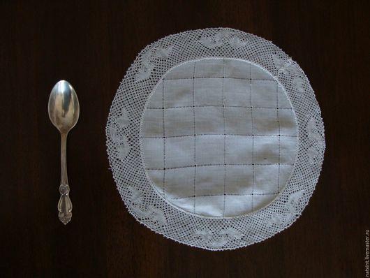 Винтажные предметы интерьера. Ярмарка Мастеров - ручная работа. Купить Батистовая салфетка с кружевом валансьен, винтаж, Франция. Handmade. Белый