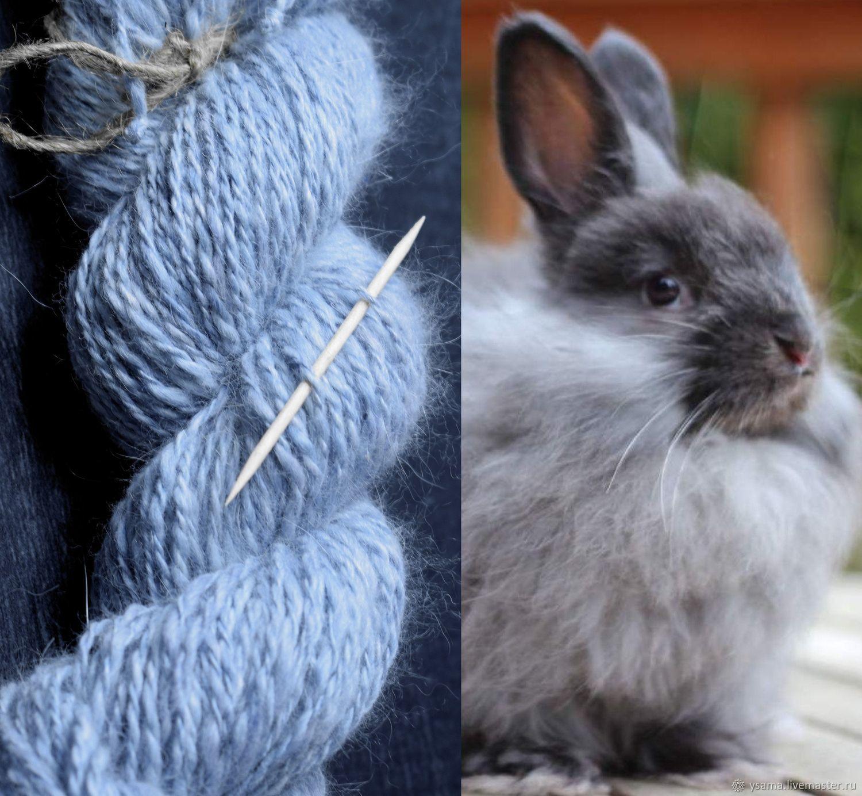 Angora yarn hand-spun blue blue 40gr., 50g, Yarn, Kotlas,  Фото №1
