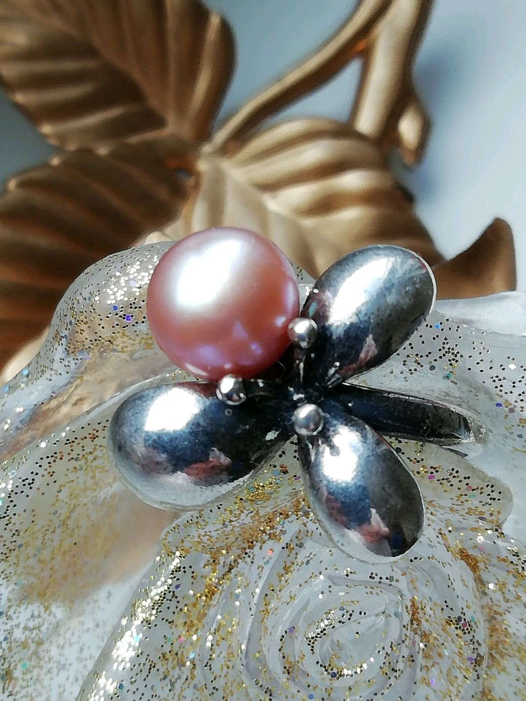 Ring with pearl 'DEW ON the CLOVER', Rings, Moscow,  Фото №1