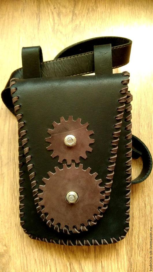 """Мужские сумки ручной работы. Ярмарка Мастеров - ручная работа. Купить Сумка на пояс """"Mechanical Punk"""". Handmade. Черный"""