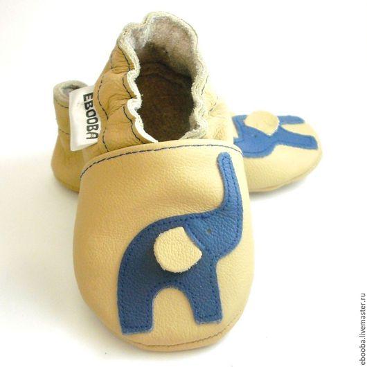 Кожаные чешки тапочки пинетки слоник синий на бежевом ebooba