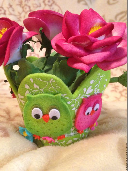 Цветы ручной работы. Ярмарка Мастеров - ручная работа. Купить Розы в горшочке. Handmade. Ярко-красный, розы, фетр листовой