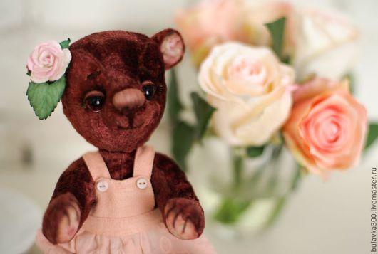 Мишки Тедди ручной работы. Ярмарка Мастеров - ручная работа. Купить Розочка. Handmade. Бордовый, Винтажный плюш, сливер, ресницы