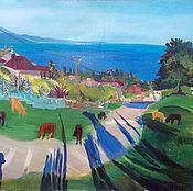 Картины и панно ручной работы. Ярмарка Мастеров - ручная работа Большая картина. Село над морем. Handmade.