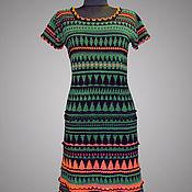 handmade. Livemaster - original item Crochet dress Iren. Malachite green handmade women jacquard dress. Handmade.
