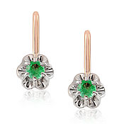Украшения handmade. Livemaster - original item 585 gold earrings with natural emeralds. Handmade.