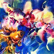 Картины и панно ручной работы. Ярмарка Мастеров - ручная работа Акварель Орхидеи и Золотая Рыбка. Handmade.