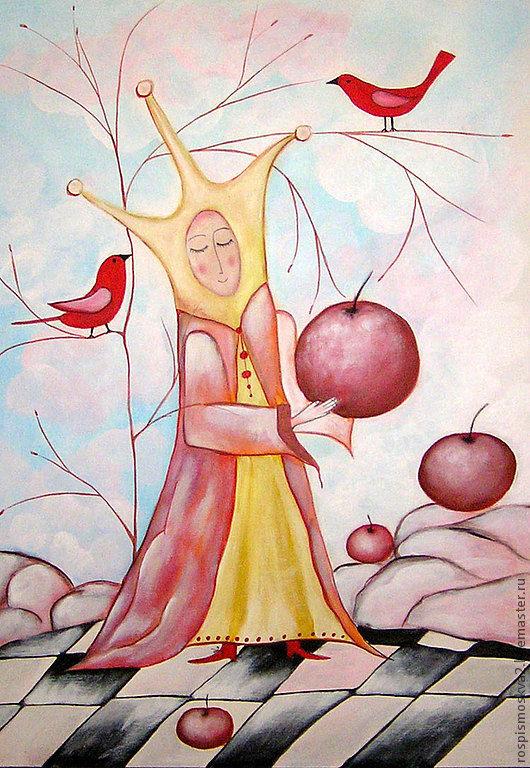 Фэнтези ручной работы. Ярмарка Мастеров - ручная работа. Купить Картина   Шахматы  игра  в  яблоки  королева. Handmade. Яркая  картина