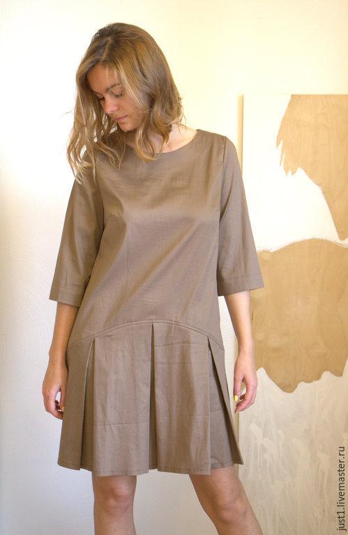 Платья ручной работы. Ярмарка Мастеров - ручная работа. Купить платье кофейное. Handmade. Бежевый, повседневное платье, мини платье