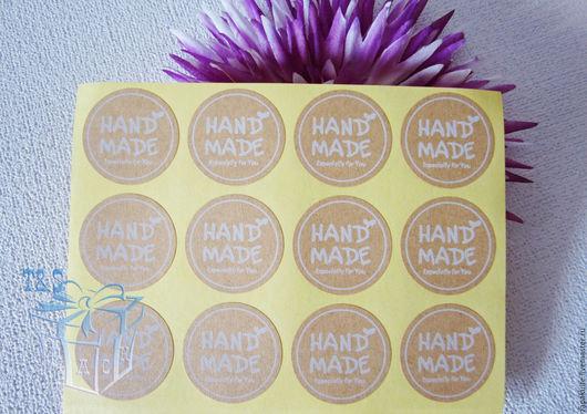 Упаковка ручной работы. Ярмарка Мастеров - ручная работа. Купить Наклейки крафт, лист 12 шт., handmade, круглые, 3,5 см., наклейка. Handmade.