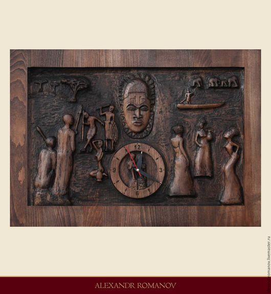 """Часы для дома ручной работы. Ярмарка Мастеров - ручная работа. Купить Настенные, интерьерные, деревянные часы """"Однажды в Африке"""". Handmade."""