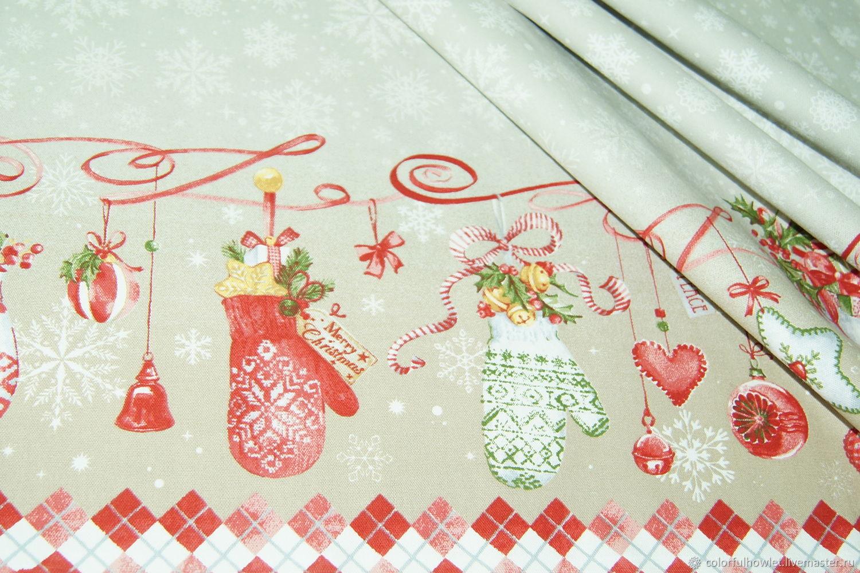 УЦЕНКА! Новогодняя  ткань 100% хлопок для шитья саржа декоративная, Ткани, Иваново,  Фото №1