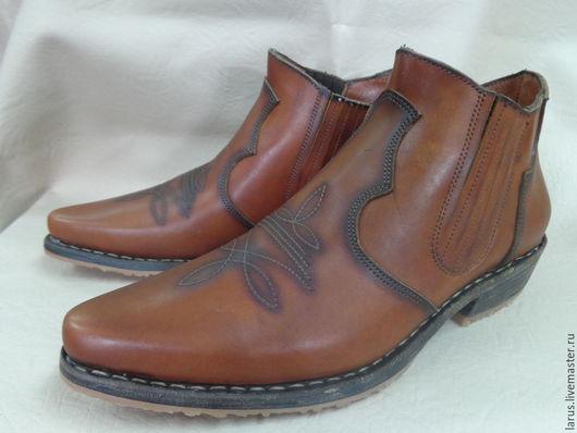 """Обувь ручной работы. Ярмарка Мастеров - ручная работа. Купить Мужские ботинки """"казаки!. Handmade. Коричневый, обувь ручной работы"""