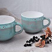 Посуда ручной работы. Ярмарка Мастеров - ручная работа Кружка из глины Мятное мороженое. Handmade.