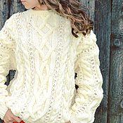 Одежда handmade. Livemaster - original item Sweater Mix with collar stand into a milky color. Handmade.