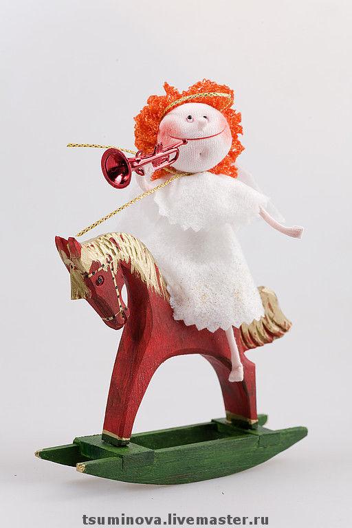 Миниатюра ручной работы. Ярмарка Мастеров - ручная работа. Купить Ангелочек на лошадке. Handmade. Ангелочек, символ 2014 года, дерево