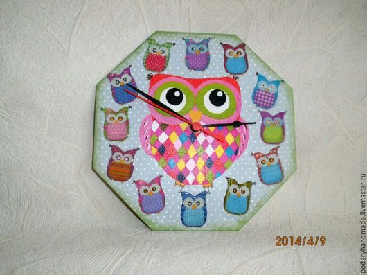 Часы для дома ручной работы. Ярмарка Мастеров - ручная работа. Купить Часы с совами. Handmade. Комбинированный, детская комната, совята