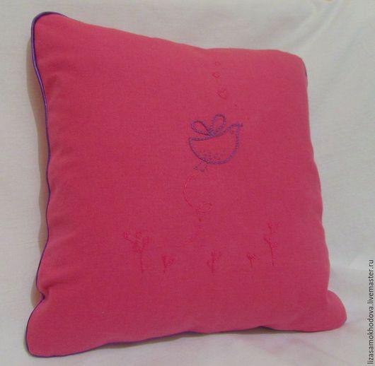 Текстиль, ковры ручной работы. Ярмарка Мастеров - ручная работа. Купить Льняная подушка с вышивкой. Handmade. Разноцветный, наволочка льняная