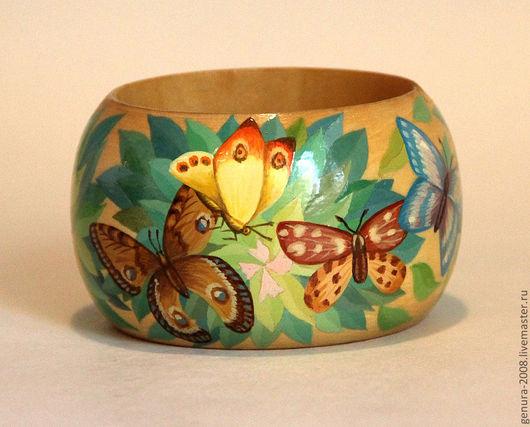 """Браслеты ручной работы. Ярмарка Мастеров - ручная работа. Купить браслет """"Бабочки"""". Handmade. Деревянный браслет, бабочки, дерево"""