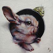 Картины и панно handmade. Livemaster - original item Oil painting Rabbit & butterfly. Handmade.