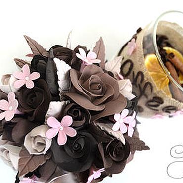 Для дома и интерьера ручной работы. Ярмарка Мастеров - ручная работа Баночка для кофе с цветами из полимерной глины. Handmade.