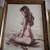 """Картины ручной работы. Ярмарка Мастеров - ручная работа Картина вышитая крестом """"Девушка"""".. Handmade."""