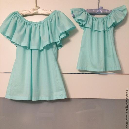"""Блузки ручной работы. Ярмарка Мастеров - ручная работа. Купить Хлопковая блуза с воланом """"Мама+Дочка"""". Handmade. Голубой, блуза из хлопка"""