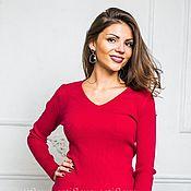 Одежда ручной работы. Ярмарка Мастеров - ручная работа Кофта лапша  с v-образным вырезом красного цвета. Handmade.