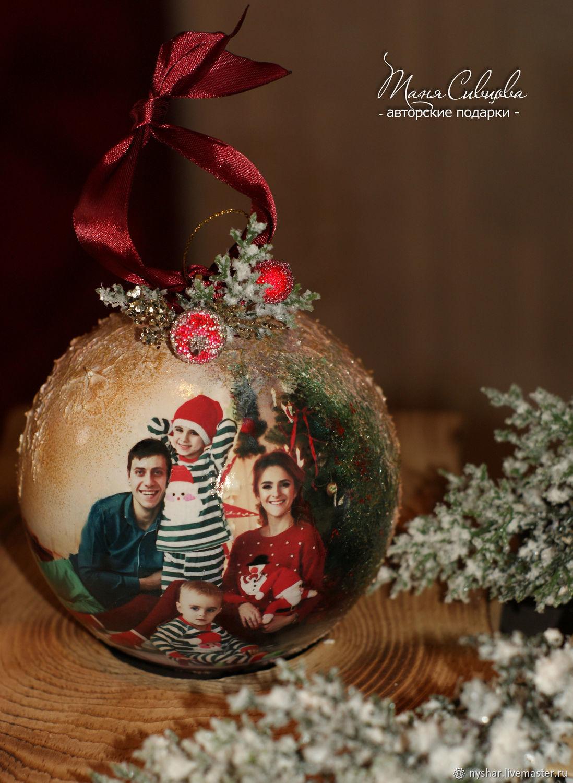 Новогодний Шар с Фото LUX, Елочные игрушки, Новокузнецк,  Фото №1