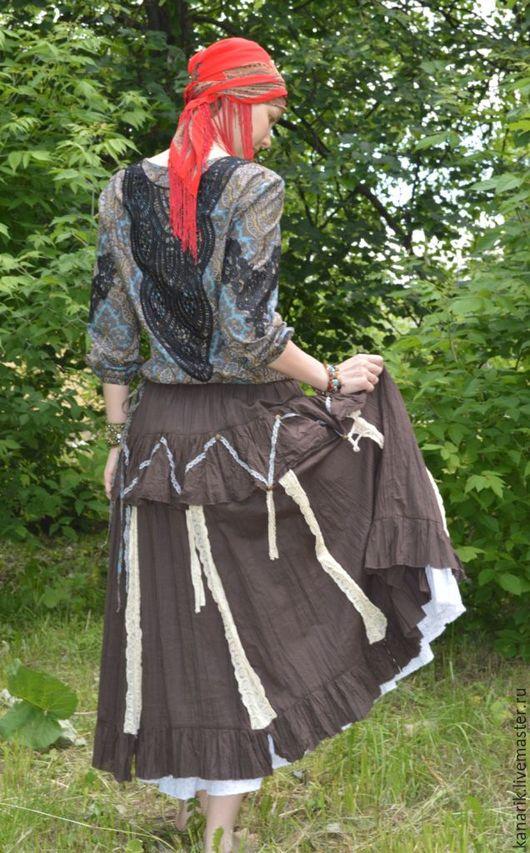 """Юбки ручной работы. Ярмарка Мастеров - ручная работа. Купить """"Восточный шоколад """" юбка . батист и кружево. Handmade. Коричневый"""