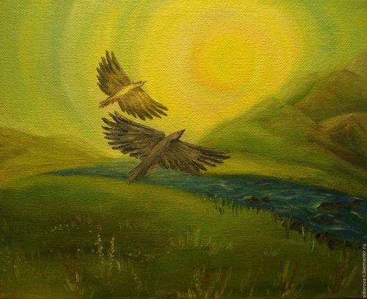 Пейзаж ручной работы. Ярмарка Мастеров - ручная работа. Купить Взлёт. Handmade. Оливковый, птица, горы, речка, солнце, жизнь