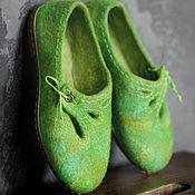 """Обувь ручной работы. Ярмарка Мастеров - ручная работа Туфельки валяные """"Вино из одуванчиков"""". Handmade."""