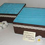 """Хранение вещей ручной работы. Ярмарка Мастеров - ручная работа Набор органайзеров """"Шоколад с бирюзой"""". Handmade."""