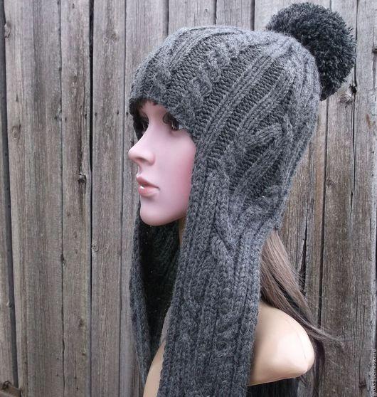 Шапки ручной работы. Ярмарка Мастеров - ручная работа. Купить Темно-серая шапка-шлем с помпоном, полушерсть. Handmade.