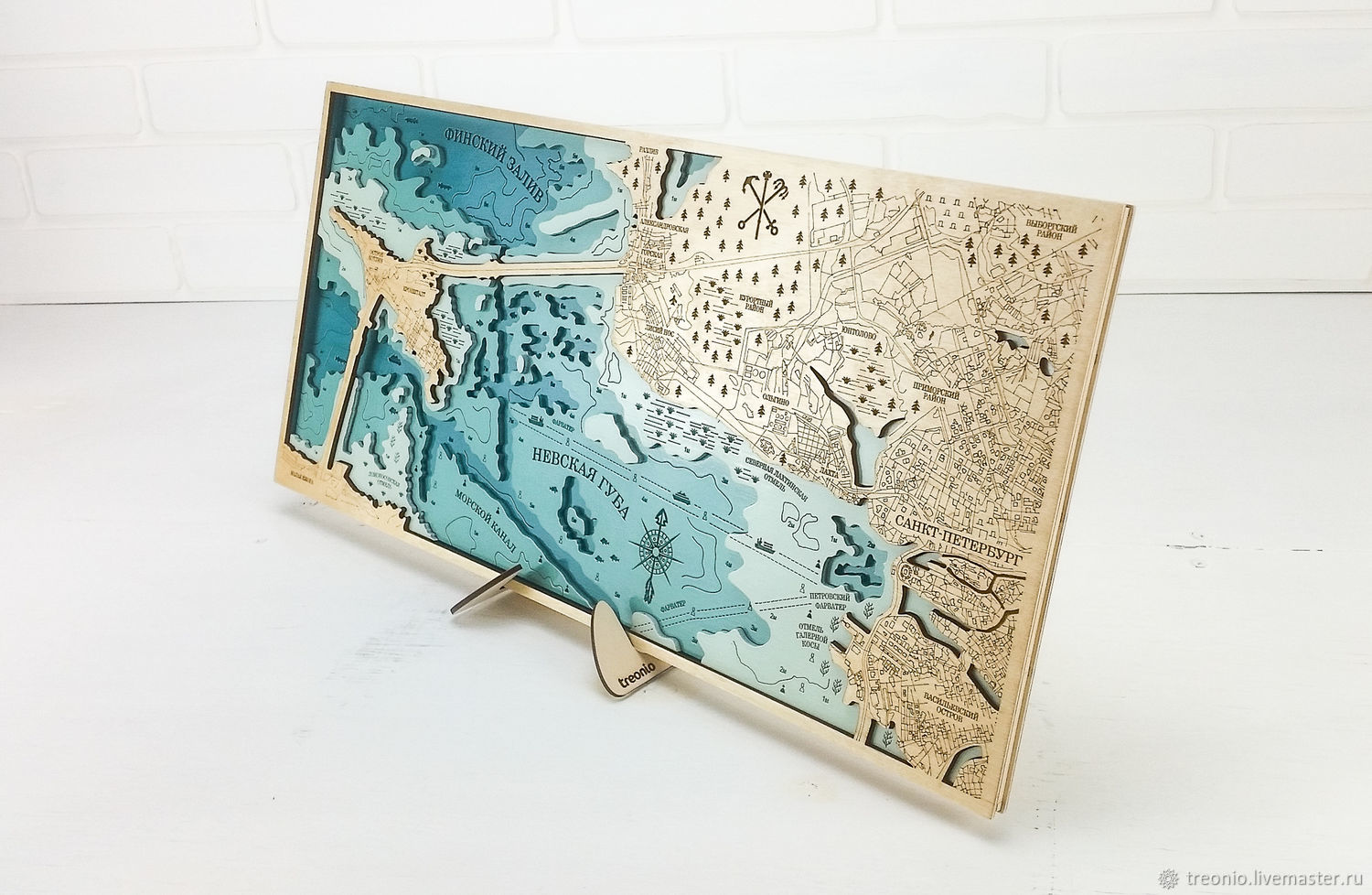 Saint Petersburg. Painting 3D depth map of the Neva Bay, Gulf of Finland, Stained glass, St. Petersburg,  Фото №1