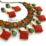 """Украшения ручной работы. Ярмарка Мастеров - ручная работа Колье и серьги,  """"Терракотовый орнамент"""" зеленые, оранжевые. Handmade."""