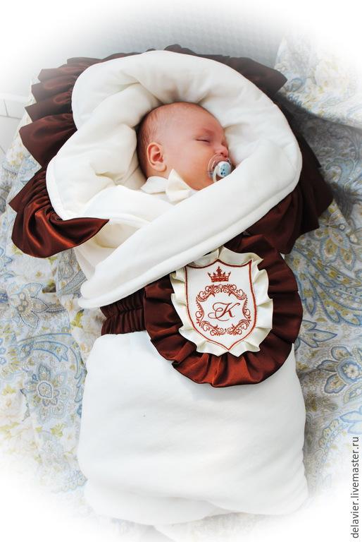 """Для новорожденных, ручной работы. Ярмарка Мастеров - ручная работа. Купить Зимнее/весеннее  одеяло на выписку """"Принц. Шоколад"""". Handmade. Бежевый"""