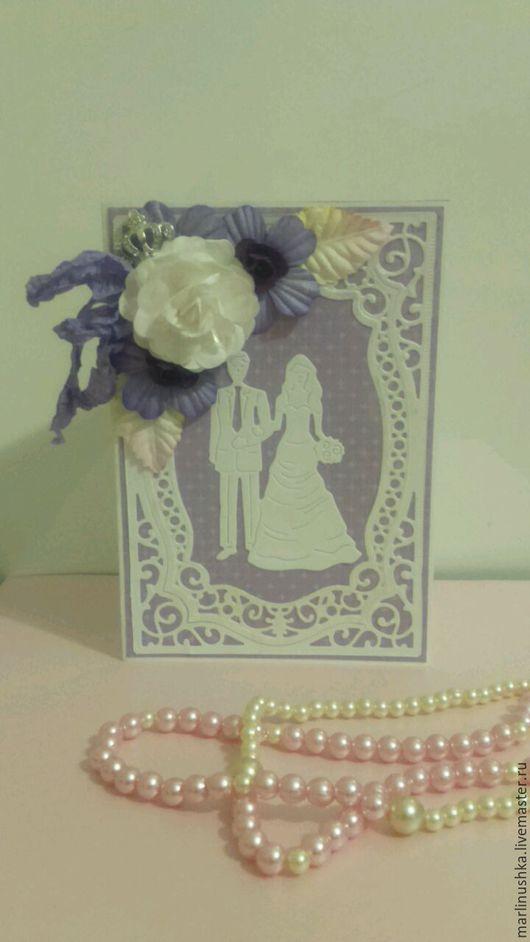 Свадебные открытки ручной работы. Ярмарка Мастеров - ручная работа. Купить Свадебная открытка. Handmade. Сиреневый, Открытка ручной работы
