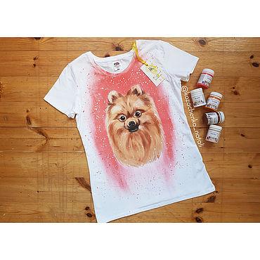 Clothing handmade. Livemaster - original item T-shirt with hand-painted Spitz. Handmade.