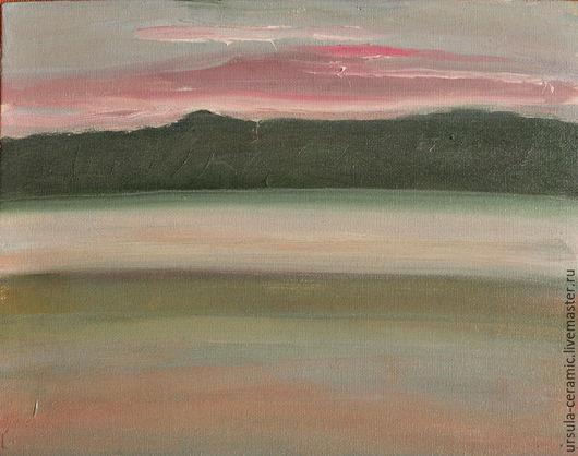 картина маслом, пейзаж, рассвет, розовый