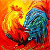 Картины и панно ручной работы. Ярмарка Мастеров - ручная работа Петух. Картина маслом. 40х40 см. Handmade.